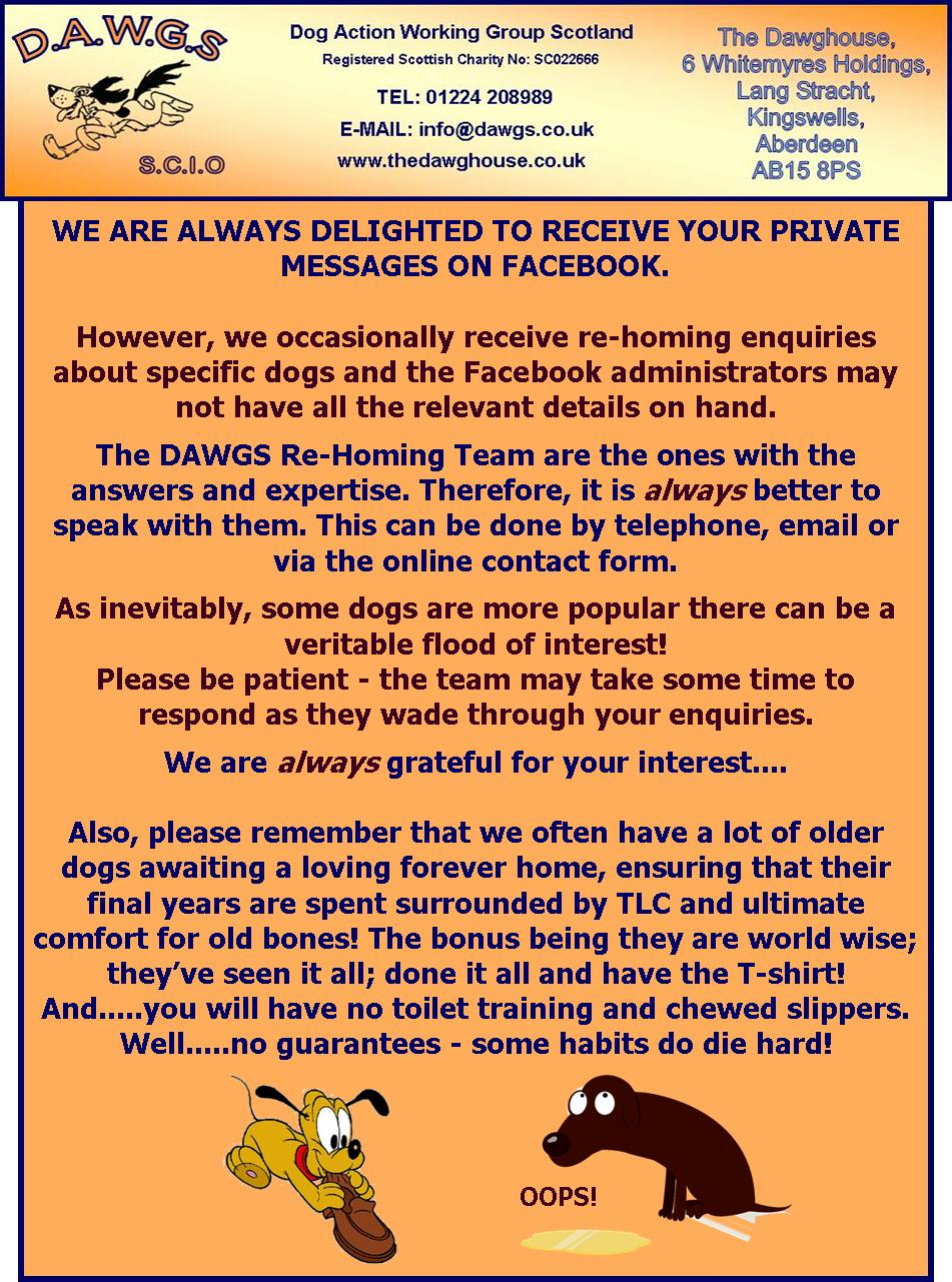 DAWGS FACEBOOK personal message REHOMING REMINDER use DAWGHOUSE